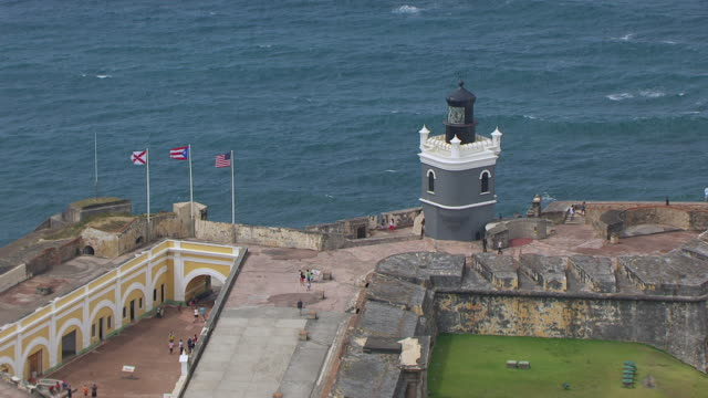 ms zo aerial pov tourist standing on morro castle / old san juan, puerto rico, united states - 16th century style stock videos and b-roll footage