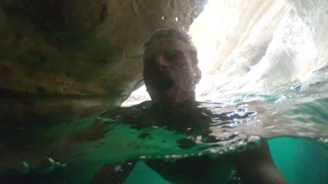 POV Tourist swimming in Wadi Shab