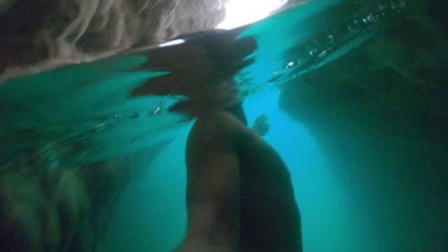 POV Tourist swimming through a gorge in Wadi Shab