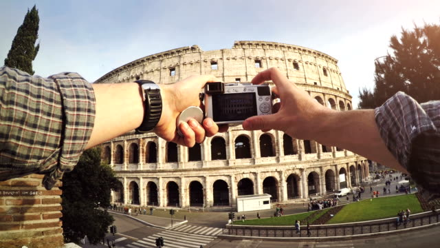 Tourist POV: taking a picture at the Coliseum, Rome