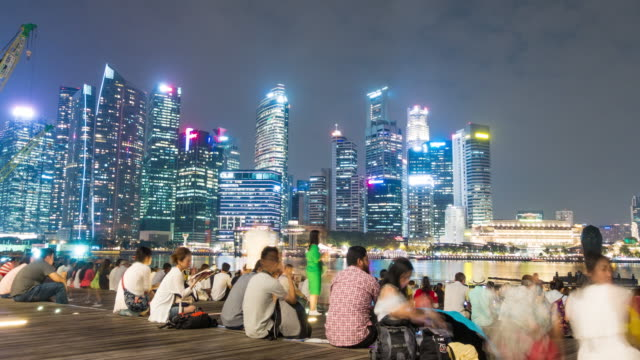 4K TL: Tourist travel in Singapore city at night.