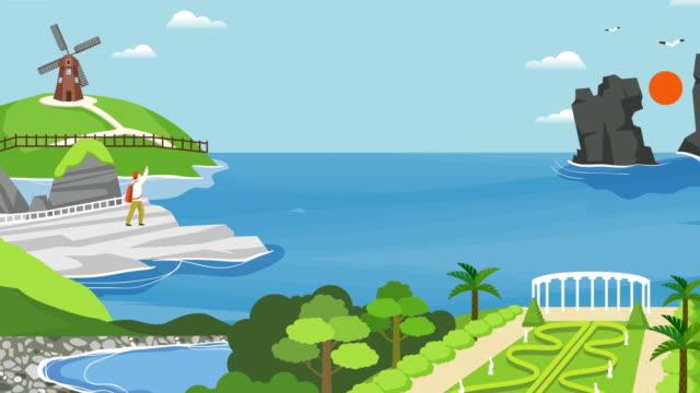 vídeos de stock e filmes b-roll de tourist traveling in geojedo island - design plano