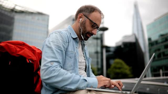 Tourist using computer