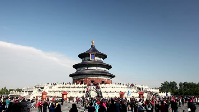 beijing, china - october 23, 2016: tourist visit beijing tian tan temple of heaven in a sunny day. - temple of heaven stock videos & royalty-free footage