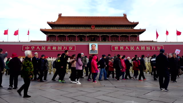 tourist visit beijing tiananmen gate,china. - tiananmen square stock videos and b-roll footage