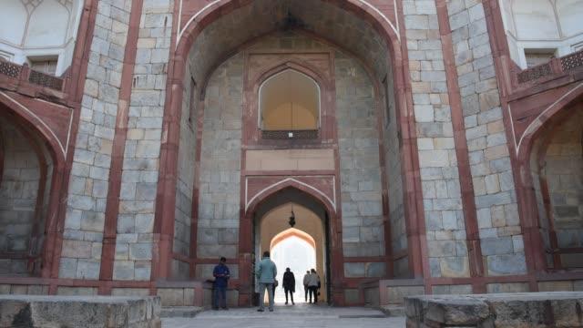 tourist visit humayun's tomb, delhi, india. - arch stock videos & royalty-free footage