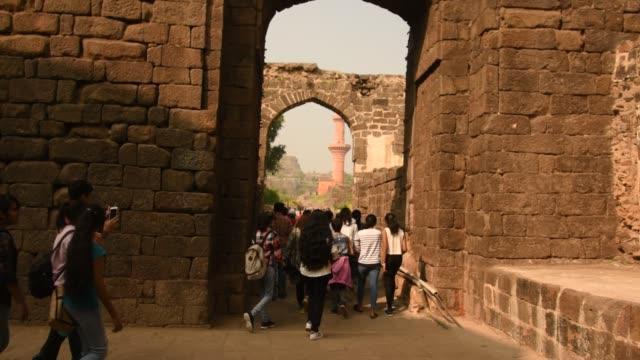 tourist visit to ancient fort daulatabad, aurangabad,  maharashtra, india - religion stock videos & royalty-free footage