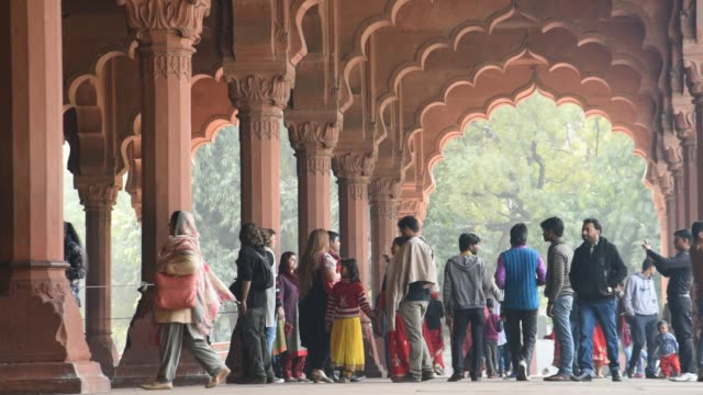 tourist visit to hall of audience, red fort, delhi, india. - mughal empire stock videos and b-roll footage