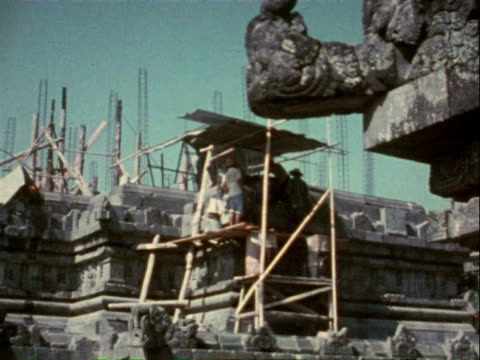 1980 tourist visiting a centuries-old temple in indonesia / java, indonesia - 1980 stock videos and b-roll footage