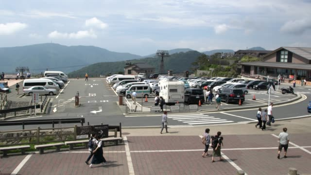 Tourist Visiting Owakudani Geo Park Area, Museum And The Active Volcanic Zone Filled With Sulfurous Fumes And Hot Springs Hakone, Japan