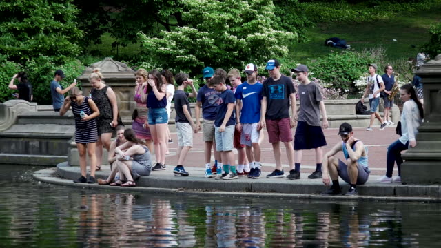 Tourist visiting the Central Park Lake, New York City