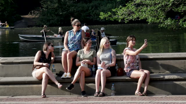 tourist visiting the central park lake, new york city - next to stock videos and b-roll footage