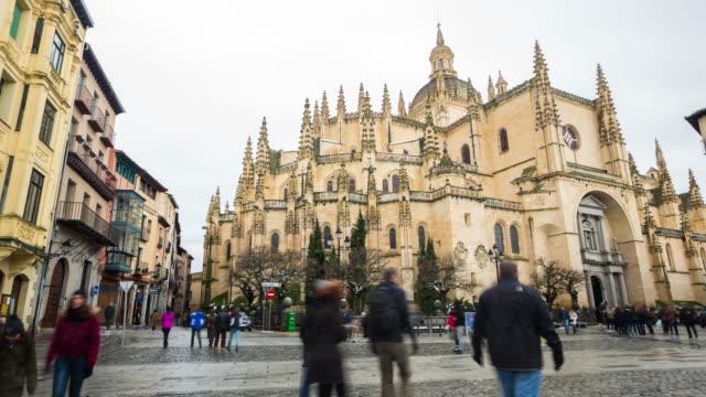 tourist walking at segovia cathedral spain - segovia stock videos & royalty-free footage