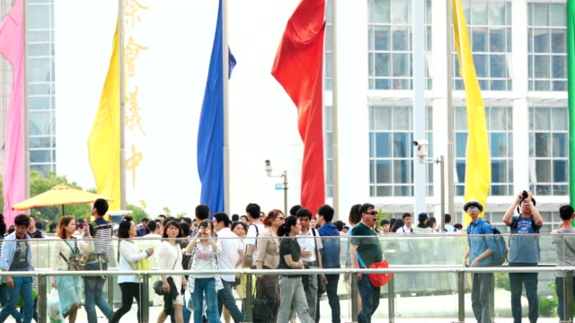 tourist walking at shanghai street at may 1st labor international day - may day international workers day stock videos & royalty-free footage