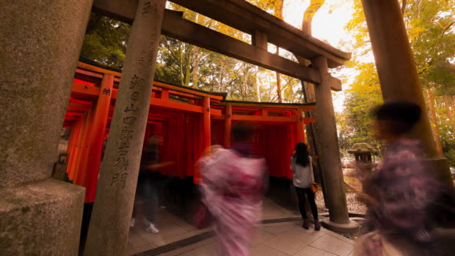 Tourist walking in and out of Torii gates at Fushimi Inari temple