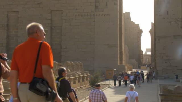 ws tu tourist walking near statues at karnak / luxor, egypt - temples of karnak stock videos & royalty-free footage