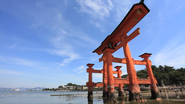WS Tourist walking near  torii gate  / Itsukushima, Hiroshima, Japan