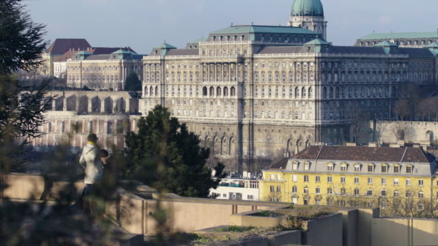 tourist watching buda castle's back the national sz��ch��nyi library from the garden of philosophy in gell��rt hill - royal palace of buda stock videos & royalty-free footage