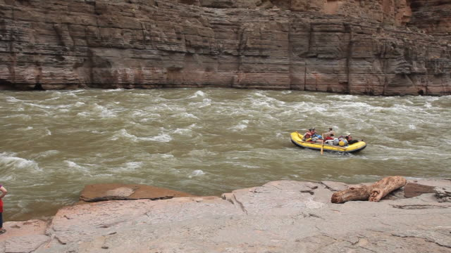 ws tourist whitewater rafting on river colorado in grand canyon / grand canyon village, arizona, usa - rafting stock videos & royalty-free footage
