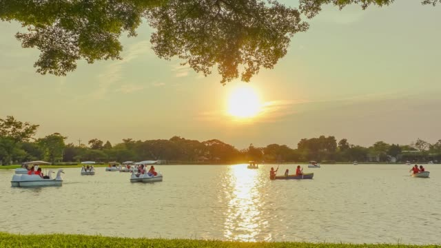 tl; tourist with the lake on bangkok public park at sunset. - mckyartstudio stock videos and b-roll footage