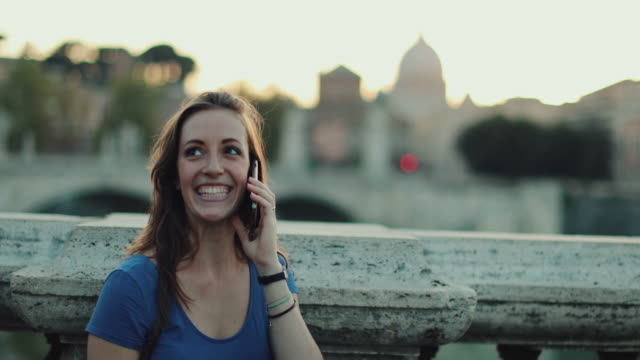 Tourist woman in Rome and Saint Peter's Dome