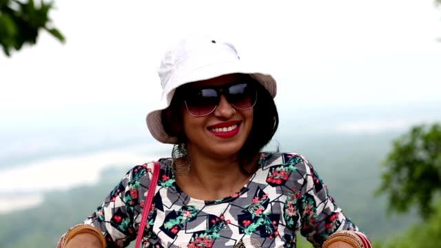 Tourist woman portrait