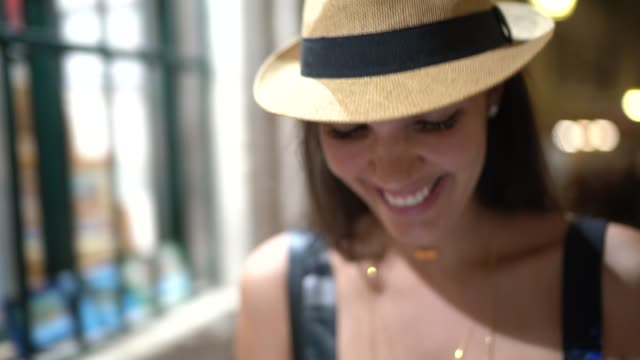 tourist woman using mobile at dubrovnik old town, croatia - brown hair stock videos & royalty-free footage