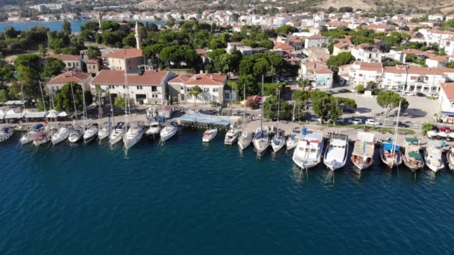 touristic aegean town aerial view - marina stock videos & royalty-free footage