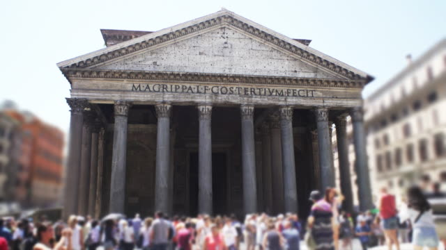 Tourists admiring Roman Pantheon.