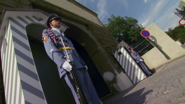 ms la tourists and honor guards at entrance to hradcany castle / prague, czech republic - hradcany castle stock videos and b-roll footage