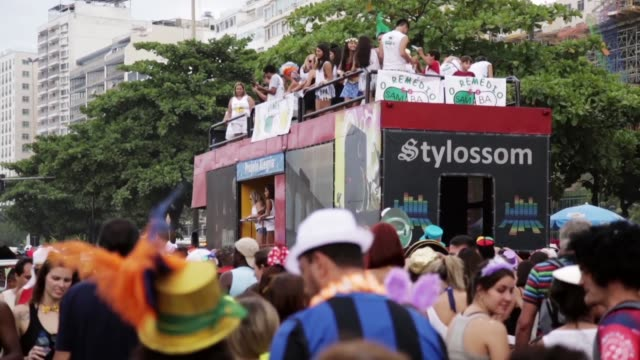 WS Tourists and locals celebrate in a carnival street celebration in Copacabana on March 01 2014 in Rio de Janeiro Brazil