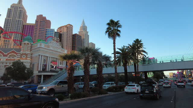 tourists are coming back to las vegas amid the covid-19 pandemic in las vegas on march 13, 2021. - las vegas crosses stock-videos und b-roll-filmmaterial