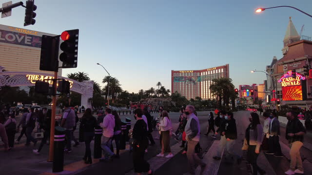 tourists are coming back to las vegas amid the covid-19 pandemic. - las vegas crosses stock-videos und b-roll-filmmaterial