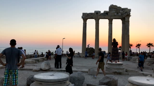 Tourists are seen visiting the Temple of Apollo on September 3 2017 in Side Turkey Turkey's tourism industry spiralled into crisis in 2016 after a...