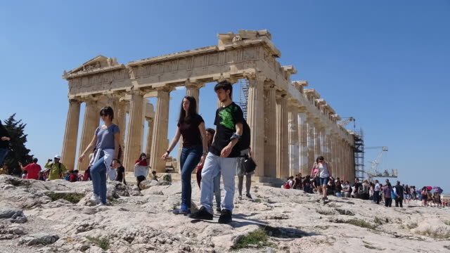 tourists at acropolis - acropolis athens stock videos & royalty-free footage