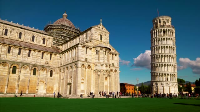 tourists at cathedral and leaning tower of pisa in italy - pisa cathedral stock videos & royalty-free footage