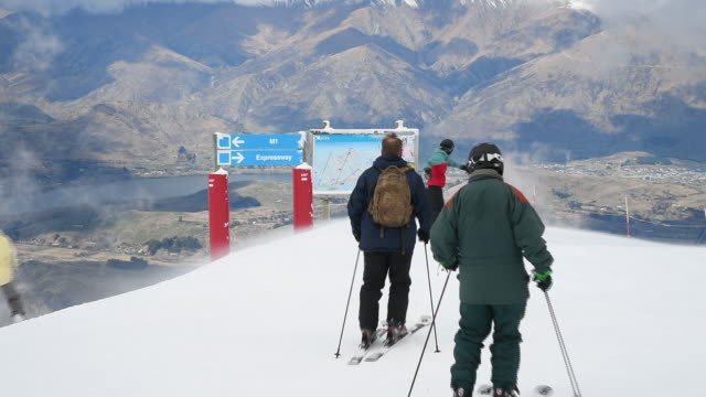 tourists at coronet peak snow center during covid19 pandemic in queensland otago new zealand on thursday september 10 2020 - skiwear stock videos & royalty-free footage
