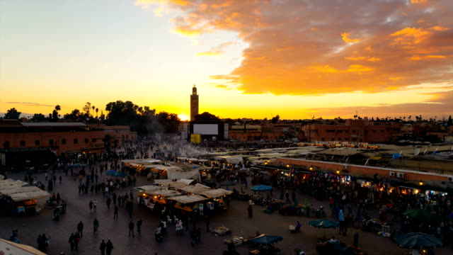 tourists at djemaa el fna square - moroccan culture stock videos & royalty-free footage