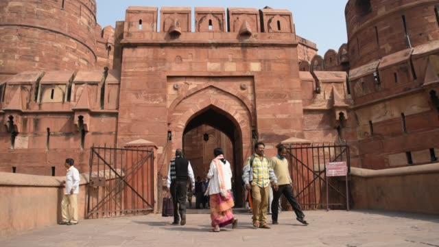 Tourists at entrance of Red Fort, Agra, India