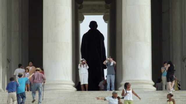 ws tourists at jefferson memorial / washington, dc, usa - jefferson memorial stock videos and b-roll footage