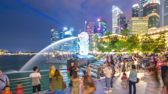 tourists at merlion statue at night, singapore - merlion fictional character stock videos and b-roll footage