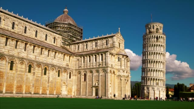 tourists at pisa cathedral and leaning tower of pisa in italy - pisa cathedral stock videos & royalty-free footage