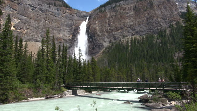 MS Tourists at Takkakaw falls in British Columbia / Yoho National park, Alberta, Canada