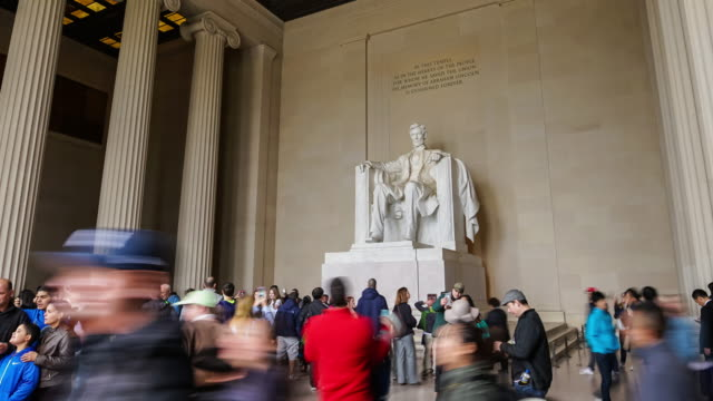 tourists at the lincoln memorial - national landmark stock videos & royalty-free footage