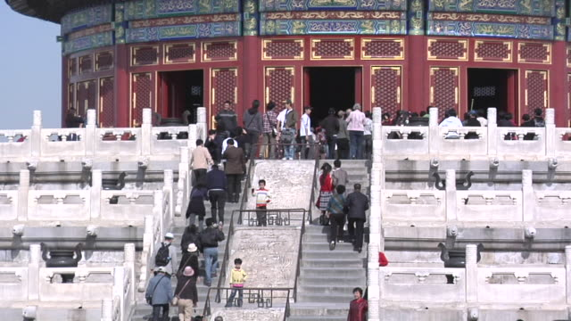 ws tourists at the temple of heaven/ beijing, china - temple of heaven stock videos & royalty-free footage