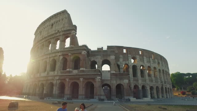 tourists by the coliseum of rome - video stock videos & royalty-free footage