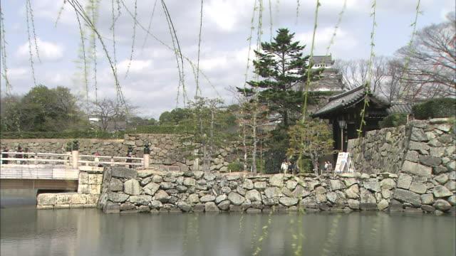 tourists cross a bridge to visit himeji castle. - trauerweide stock-videos und b-roll-filmmaterial