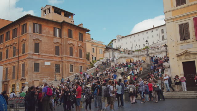 Tourists crowd on the Spanish Steps, Rome