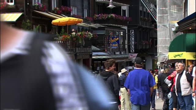 Tourists crowd the Swiss village of Zermatt.