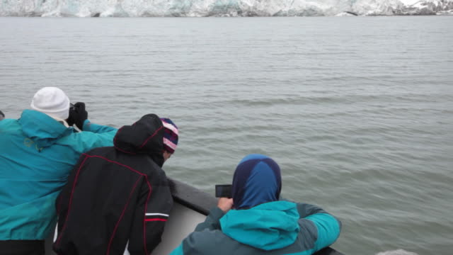 tourists enjoying esmark glacier from a tourists boat in the bay of ymer, isfjorden, spitsbergen, svalbard archipelago - スヴァールバル諸島およびヤンマイエン島点の映像素材/bロール